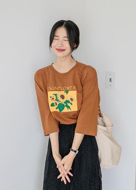 loloten-델만 썬플라워 7부 티셔츠♡韓國女裝上衣