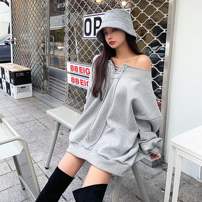choper-코르셋오프숄더맨투맨♡韓國女裝上衣
