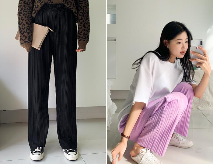 pinksisly-캐서린 플리츠 와이드 팬츠♡韓國女裝褲