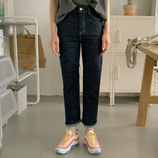 banharu-반하루[하이웨스트 스티치 생지데님팬츠]♡韓國女裝褲