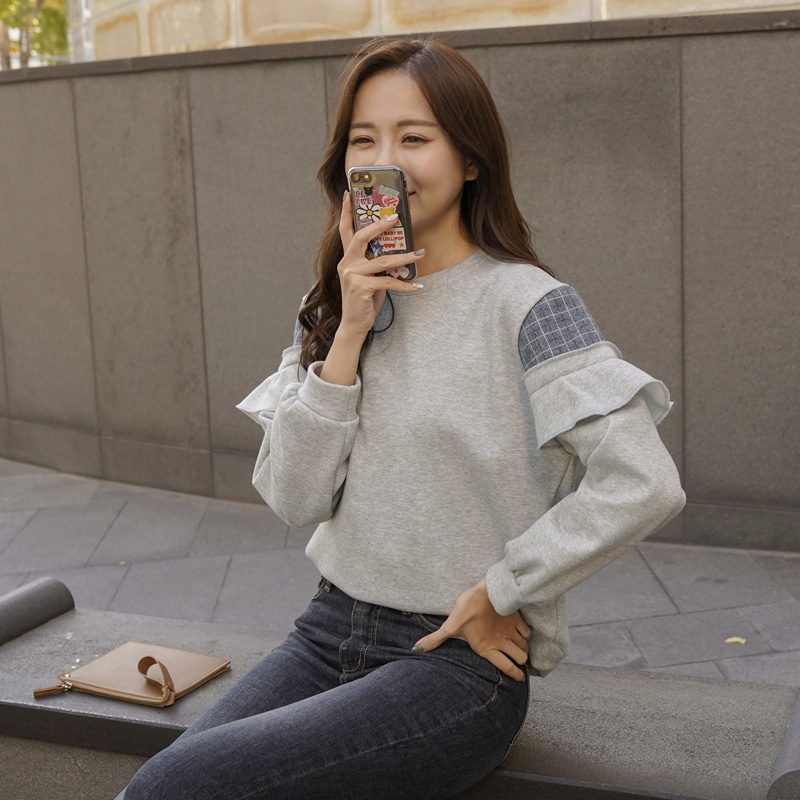 clicknfunny-[리체크 기모맨투맨티]♡韓國女裝上衣