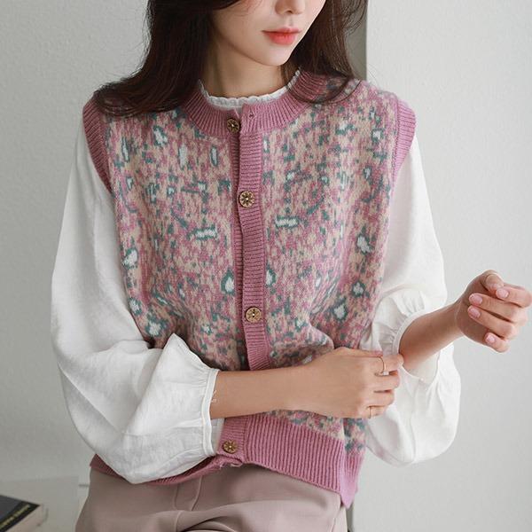 shehj-모네버튼 모헤어 니트조끼(울60)♡韓國女裝外套