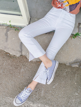 jstyleshop-[라니반 절개트임 부츠컷 팬츠]♡韓國女裝褲