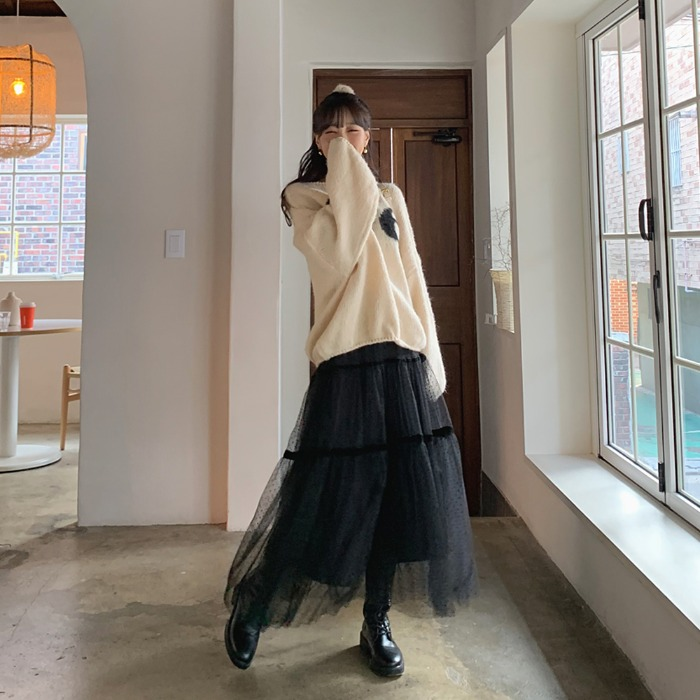 theresheis-인더스 쉬폰 캉캉 롱 스커트♡韓國女裝裙