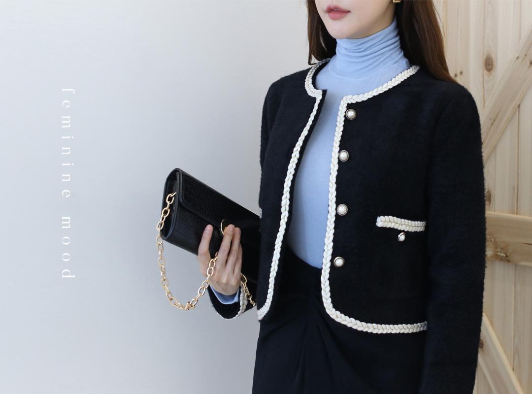 i-arden-[뽀룬 트위드숏자켓(3color)]♡韓國女裝外套