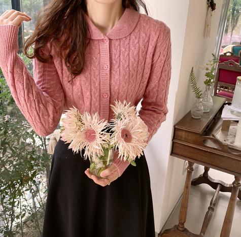 leelin-[모션카라 꽈배기 울가디건[size:F(55~66)]]♡韓國女裝外套