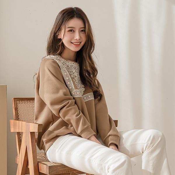 canmart-[줄리레이스기모맨투맨 C010625]♡韓國女裝上衣