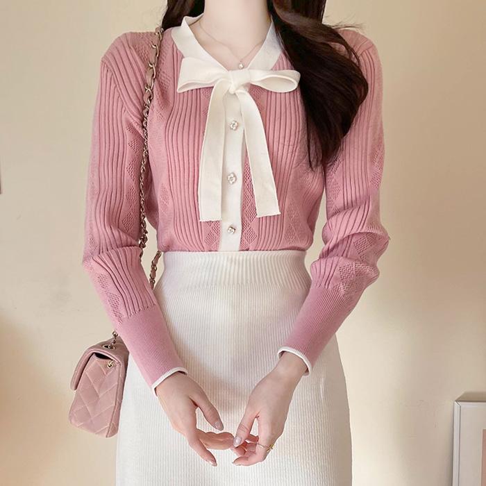 myfiona-꽃다이아 리본 배색니트 a1189 - 러블리 로맨틱룩 1위 쇼핑몰 피오나♡韓國女裝上衣