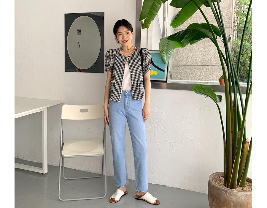 frombeginning-페일블루 슬림일자데님팬츠 (2color)♡韓國女裝褲