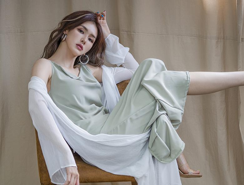 eranzi-[셀럽 넥드롭 롱 원피스]♡韓國女裝連身裙