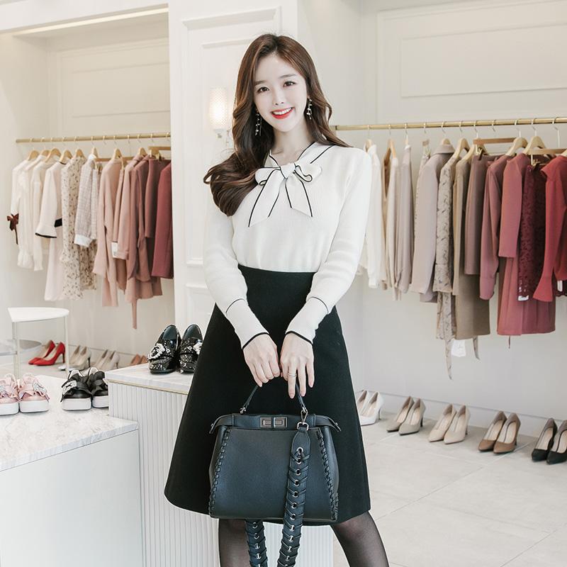attrangs-nt1619(A) 단아한 분위기의 슬림 배색라인 리본장식 울 혼방 니트 탑 knit♡韓國女裝上衣