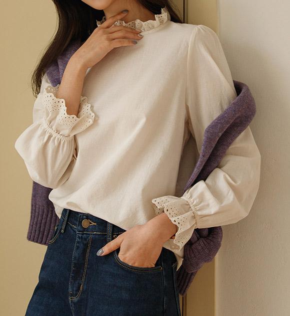 justone-하니미 프릴넥 레이어드 블라우스♡韓國女裝上衣