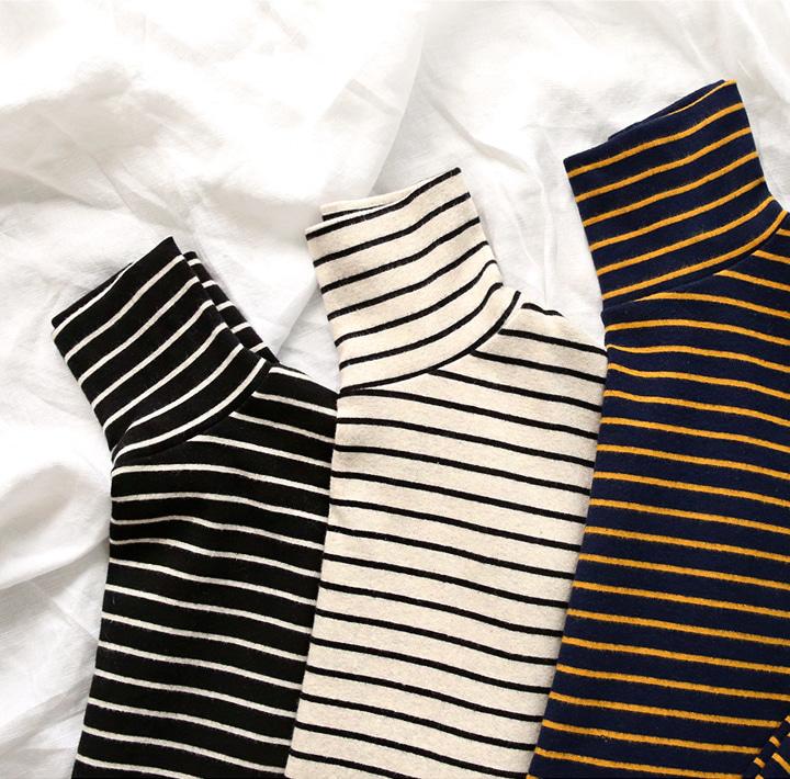 common-unique--라디아 스트라이프 하이 넥 코튼 티♡韓國女裝上衣