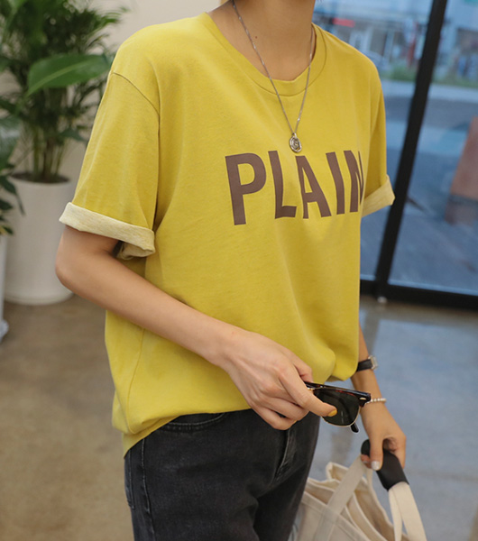 roompacker-룸페커 [플랜 피그먼트 루즈핏 반팔 탑]♡韓國女裝上衣