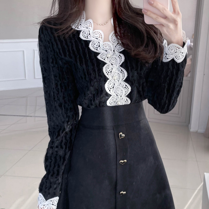 myfiona-벨벳웨이브 레이스 블라우스 a1170 - 러블리 로맨틱룩 1위 쇼핑몰 피오나♡韓國女裝上衣