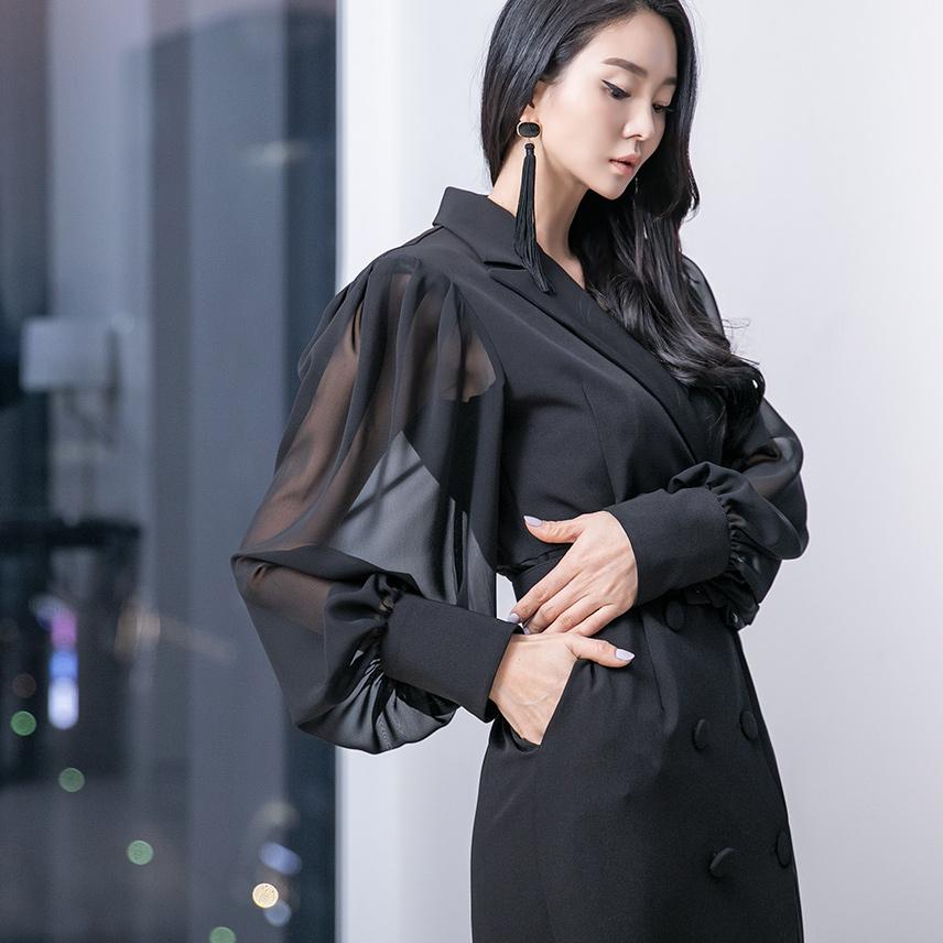 dint-[D4003 베이킨 쉬폰 배색 원피스(벨트SET)(16th REORDER)]Document♡韓國女裝連身裙