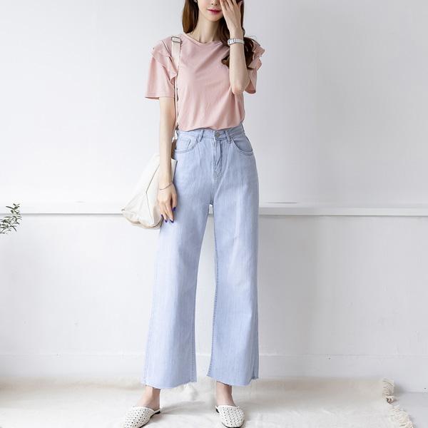 misscandy-[no.19209 아이스블루 밑단컷팅 와이드팬츠]♡韓國女裝褲