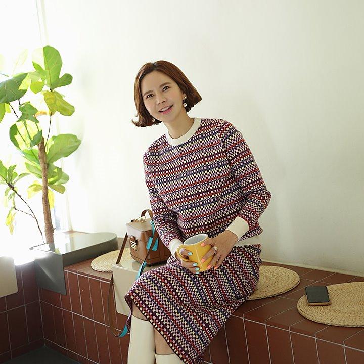 lemite-모자이쿠 세트(니트+스커트)♡韓國女裝套裝