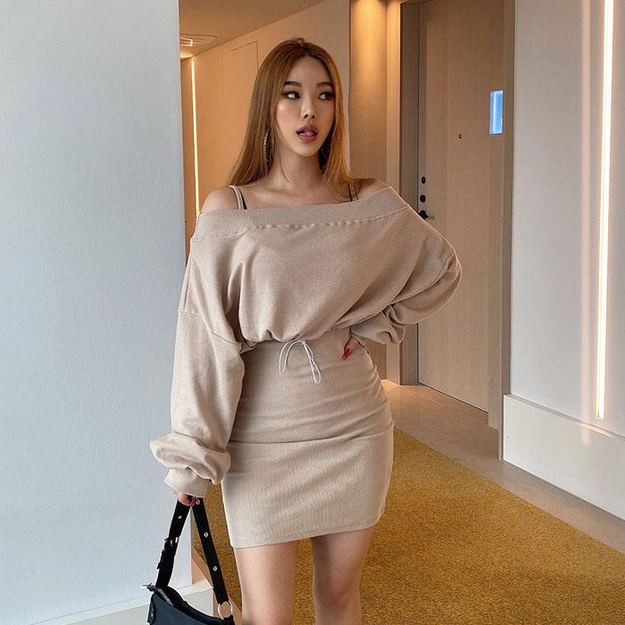 hypnotic-캠트오프숄더원피스 세트♡韓國女裝套裝