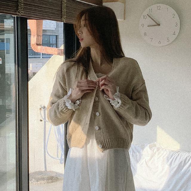 banharu-반하루[베이크 세미크롭 니트가디건]♡韓國女裝外套