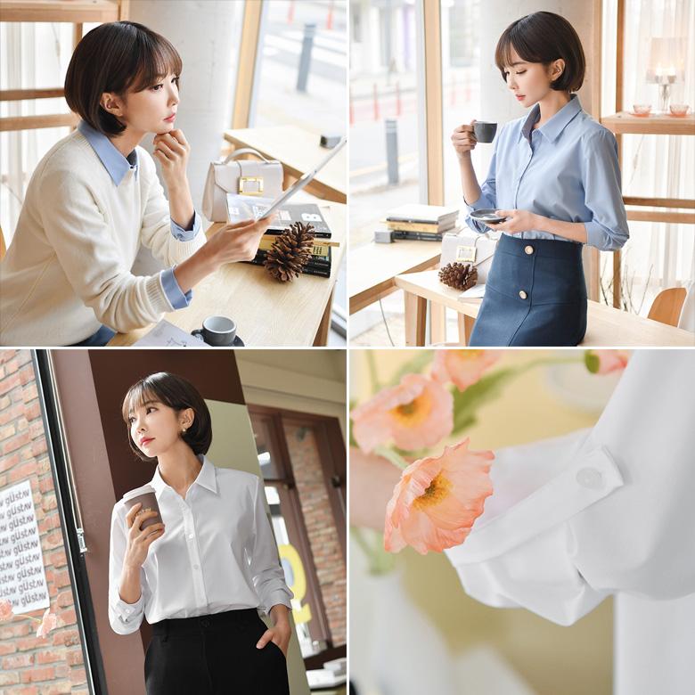 midasb-[[롤업]사오 베이직 스판 셔츠]♡韓國女裝上衣