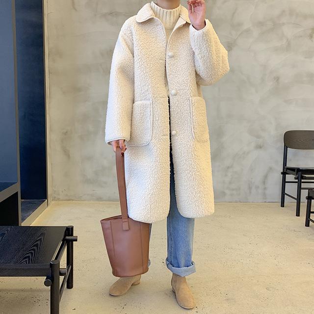 k-club-[무료배송]씨유 카라 양털 롱코트♡韓國女裝外套