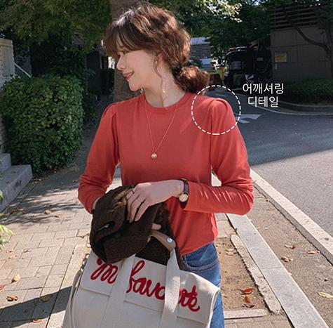 leelin-[블리스 핀턱 기모티셔츠[size:F(55~66)]]♡韓國女裝上衣