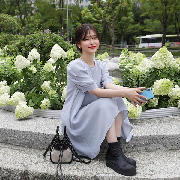 66girls-[LL] 퍼프미니플레어OPS♡韓國女裝連身裙