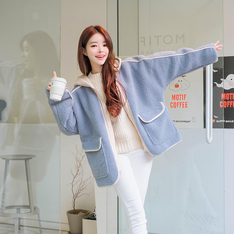attrangs-jp240 포근하게 감싸줄 컬러배색 포인트의 양털 후드점퍼 jumper♡韓國女裝外套