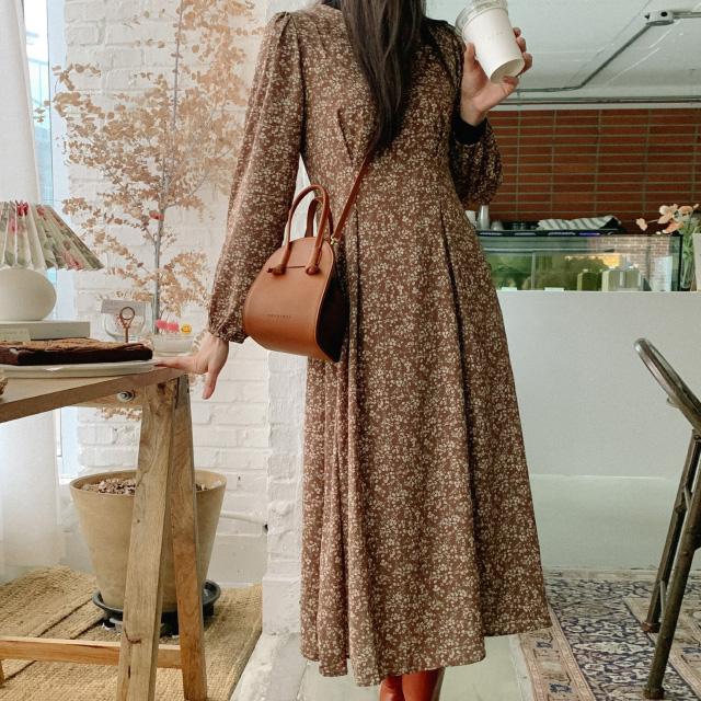 banharu-반하루[버터 퍼프소매 플라워롱원피스]♡韓國女裝連身裙