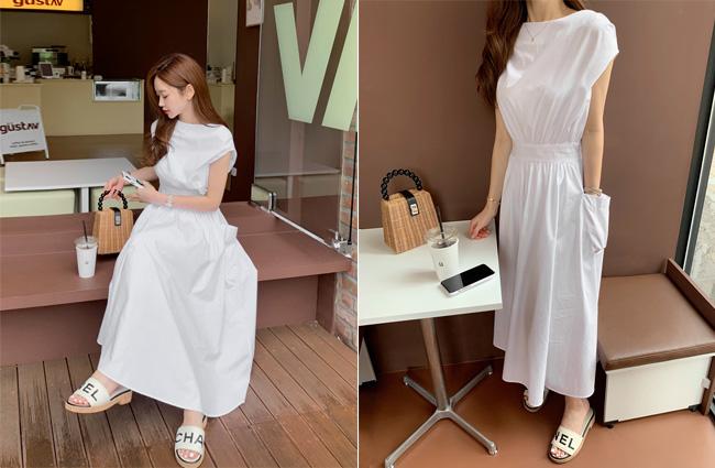 minsshop-(면100%)카울 드레이핑 원피스♡韓國女裝連身裙