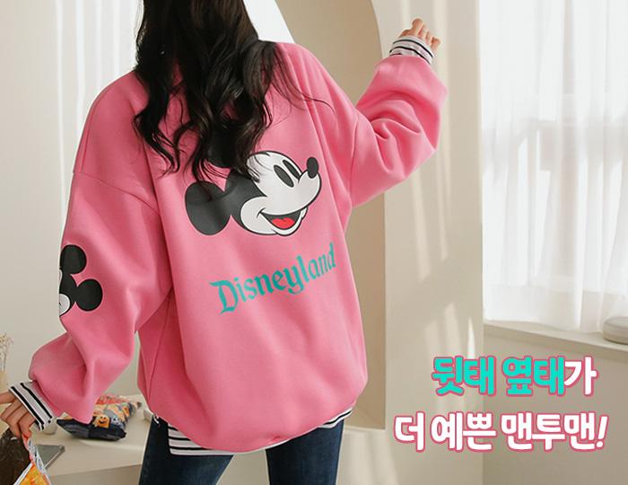 pinksisly-까꿍미키 기모 루즈 롱 맨투맨♡韓國女裝上衣