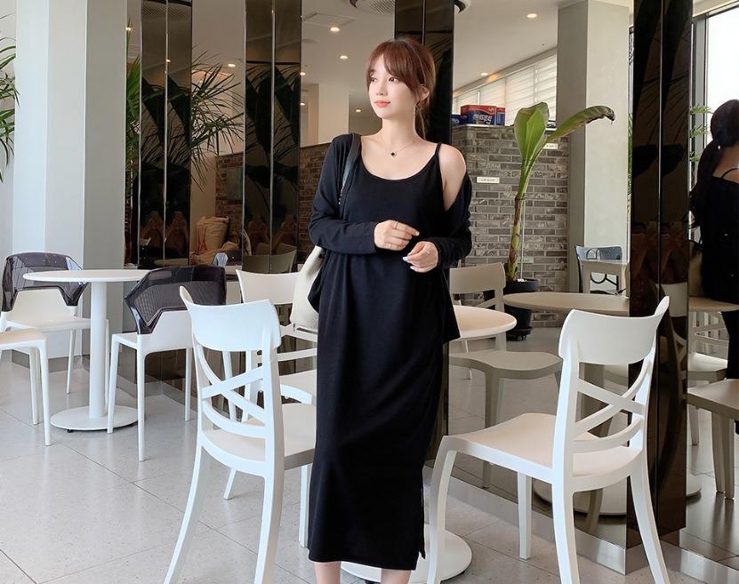 ririnco-[BABARIN] 란디아 트임 스판 롱 원피스 가디건 세트♡韓國女裝套裝