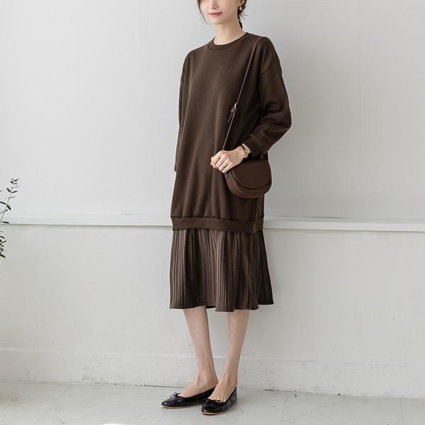 misscandy-[no.19925 벨벳플리츠 루즈핏 기모원피스]♡韓國女裝連身裙