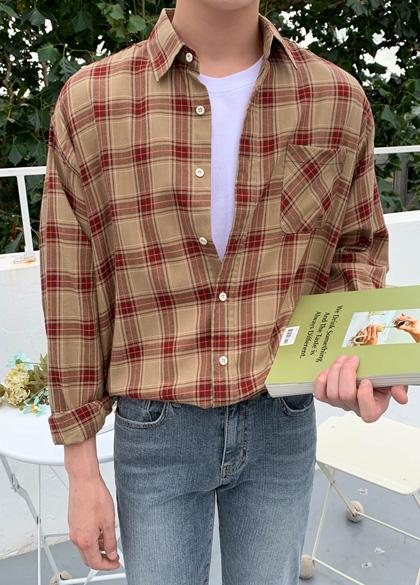 jogunshop-[워린드 체크 셔츠M~L(95~105)]♡韓國男裝上衣