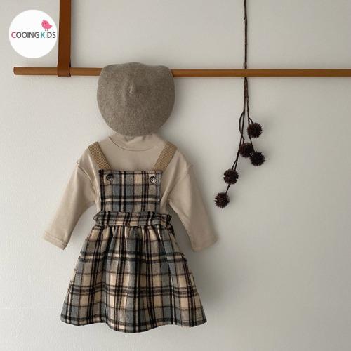 cooingkids-T울체크멜빵원피스♡韓國童裝連身裙