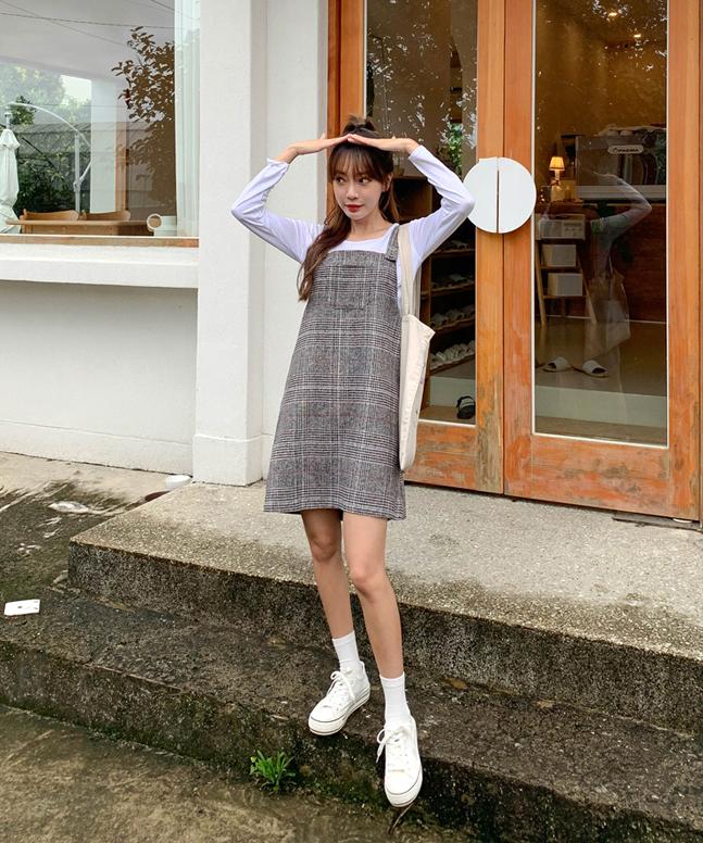 sonyunara-달리아체크원피스세트♡韓國女裝套裝