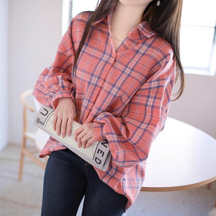 myfiona-피치핑크 여리핏 체크셔츠 a1175 - 러블리 로맨틱룩 1위 쇼핑몰 피오나♡韓國女裝上衣