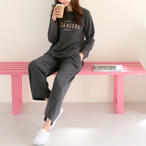 shehj-네그 레터링 티셔츠&팬츠 세트♡韓國女裝套裝