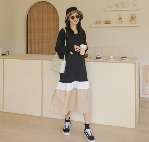 soim-[임부복*구김없는롱배색 임산부원피스]♡韓國孕婦裝連身裙