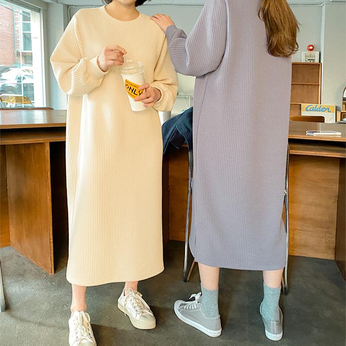 09women-[랄라프 골지 라운드 롱 원피스 52568]♡韓國女裝連身裙
