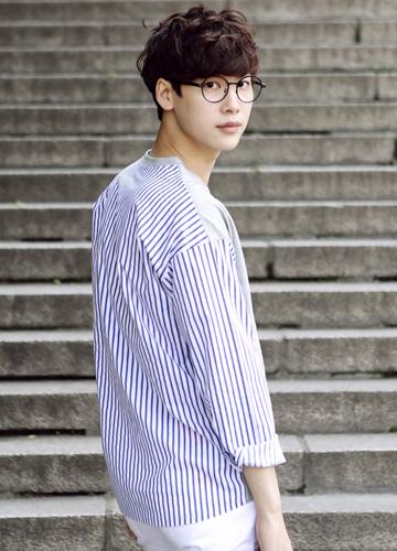 jogunshop-[스트라이프 셔츠 티셔츠(1 size)]♡韓國男裝上衣