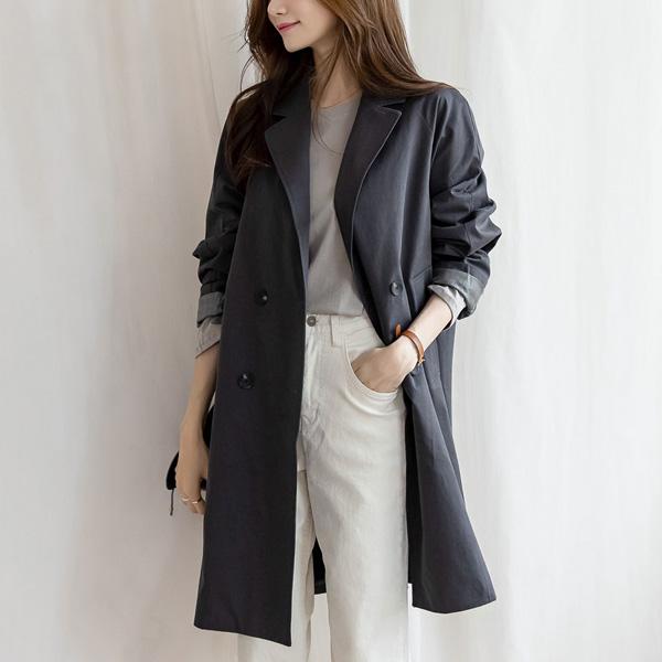 misscandy-[no.19439 체크배색 더블버튼 모던바바리]♡韓國女裝外套