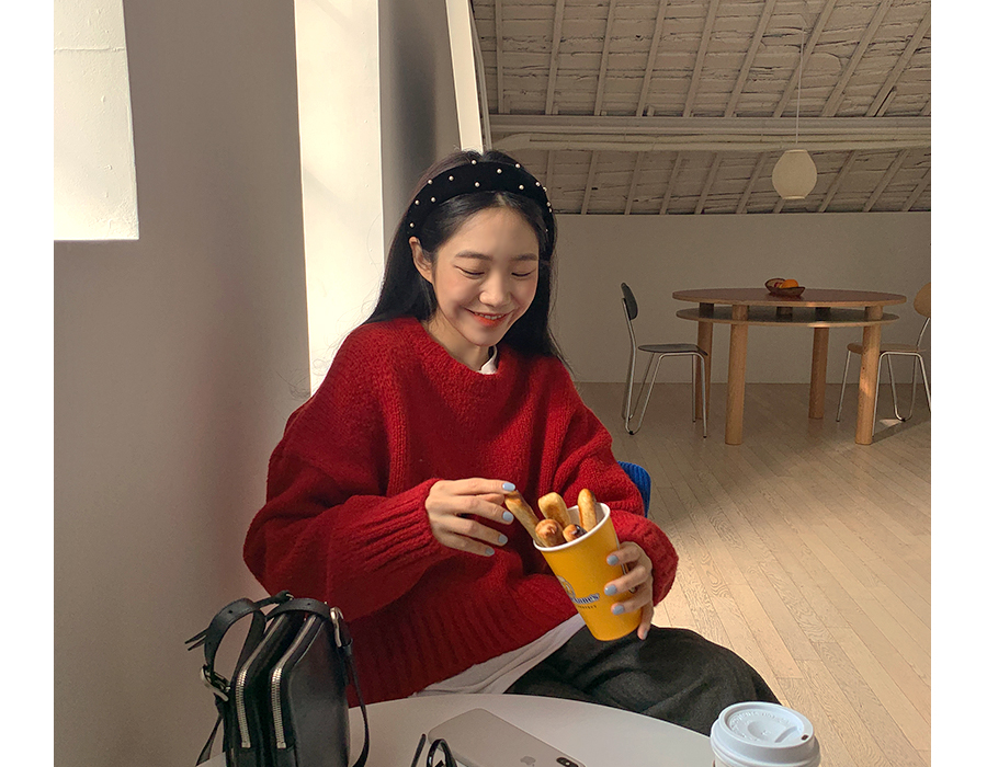 frombeginning-퓨어진주 벨벳헤어머리띠 (2color)♡韓國女裝飾品