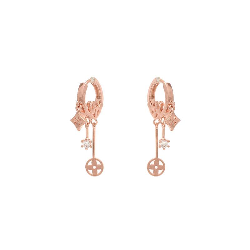 attrangs-ac4087 다채로운 크로버 펜던트의 더블 드롭 은침 이어링 earring♡韓國女裝飾品