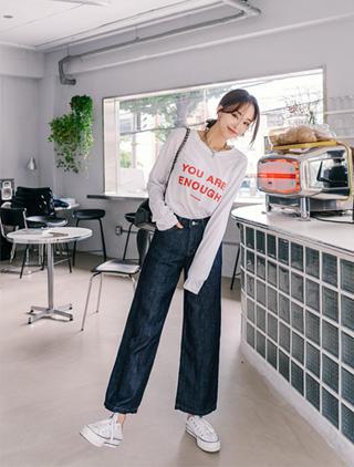 jstyleshop-[센플로 생지데님 통팬츠]♡韓國女裝褲