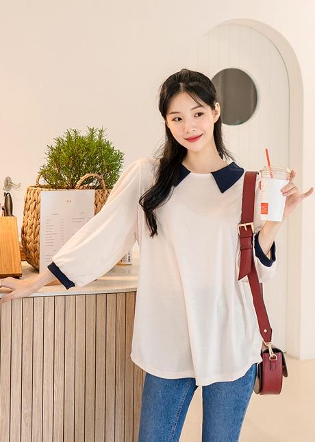 loloten-호니 배색카라티셔츠♡韓國女裝上衣