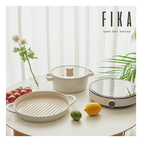 韓國FIKA 鑄造燒烤盤+22cm湯鍋連玻璃蓋+IH電磁爐 (一套3件)