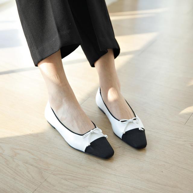 tiramisu-TR/앞코배색리본장식플랫슈즈♡韓國女裝鞋