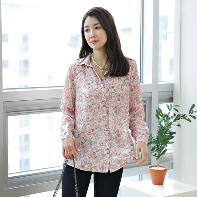tiramisu-139플라워쉬폰셔츠블라우스♡韓國女裝上衣